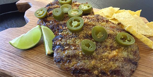 Mexicanske hakkebøffer med taco knas